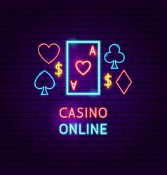 casino online neon label vector image