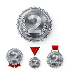 champion silver medals set metal realistic vector image