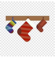 christmas gift socks icon flat style vector image