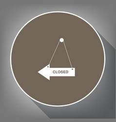 closed sign white icon on vector image