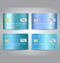credit cards set with blue gold metallic gradient vector image