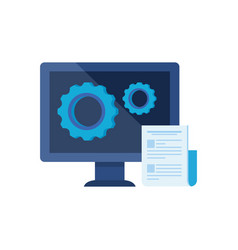 Desktop computer with gears settings vector