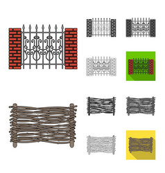 different fence cartoonblackflatmonochrome vector image