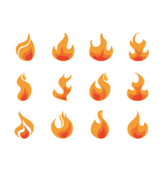 fire flame burning hot glow flat design icons set vector image