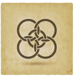 five interlocked circles vintage background vector image