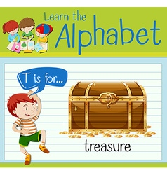 Flashcard letter T is for treasure vector image
