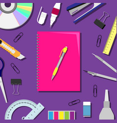 Flat lay with a notebook vector