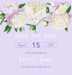 Floral wedding invitation white peonies flowers vector
