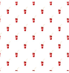 Glass with straw pattern vector