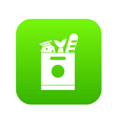 grocery bag with food icon digital green vector image