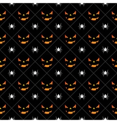 Halloween seamless pattern pumpkins scary face vector image