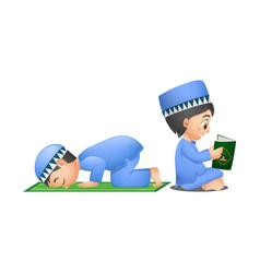 Happy muslim boys reading quran book and praying vector