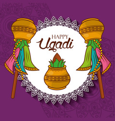 Happy ugadi new year celebration hindu vector