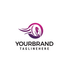 head women logo design concept template vector image