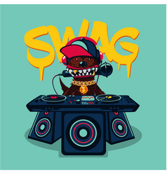 hip-hop poster with dog rap music swag culture vector image