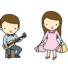 Hobby of boy and girl vector