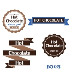 Hot chocolate labels badges and design elements vector image