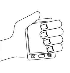 Human hand holding smartphone graphic vector