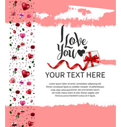 I love you design with gift box red ribbon vector