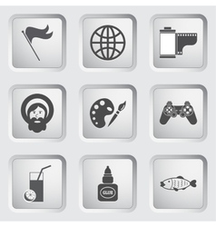 icons on buttons for web design set 7 vector image