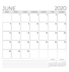 June 2020 monthly calendar planner template vector