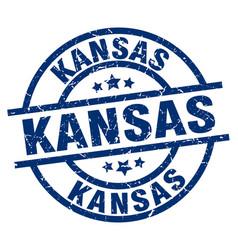 Kansas blue round grunge stamp vector