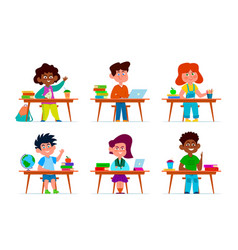 Kids at school desk pupils multiethnic boys and vector