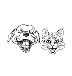 kitten and puppy vector image