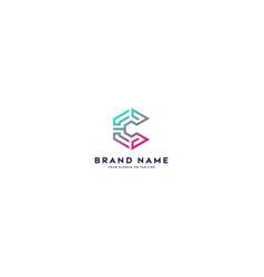 Letter logo c full color gradient vector
