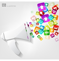 Loudspeaker icon Application buttonSocial media vector image