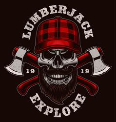 Lumberjack skull vector