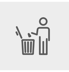 Man throwing garbage in a bin thin line icon vector image