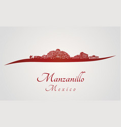 Manzanillo skyline in red vector