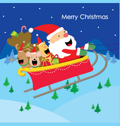 Merry christmas text santa gift dogs fun enjoy car vector