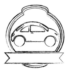 Monochrome sketch of sport car in heraldic round vector