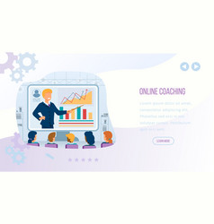 online coaching banner with copy space man coach vector image