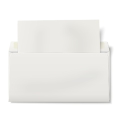 Opened DL envelope with sheet of paper inside vector