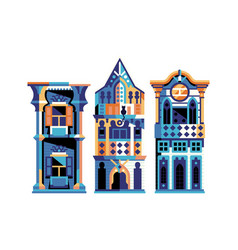 Ottoman wooden houses and turkish manors in flat vector