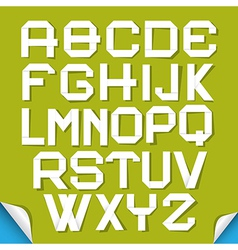 Paper Cut Alphabet Isolated on Green Background vector image