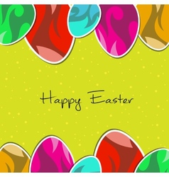 paper eggs Happy easter card green vector image