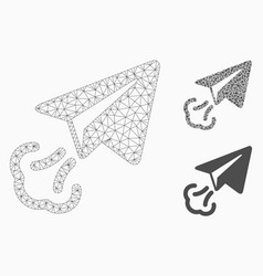 Paper plane start mesh wire frame model and vector