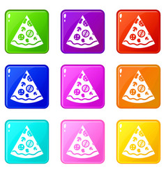 Pizza slice icons 9 set vector