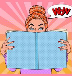 Pop art amazed woman reading book vector