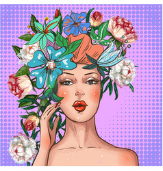 Pop art girl with flower wreath on head vector