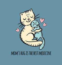 Pussy hug her daughter mothers day vector