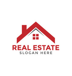 Red real estate house logo icon design template vector