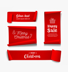 red roll paper merry christmas concept vector image