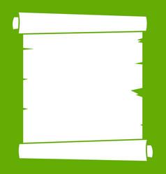 retro scroll paper icon green vector image