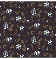 Rowan and leaves seamless pattern vector image