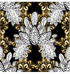 Seamless classic golden pattern floral ornament vector